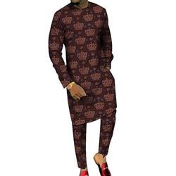 Dashiki Print Lange Shirts Met Broek Custom Made Broek Sets Mode Mannelijke Bruidegom Suits Plus Size Afrikaanse Party Kleding