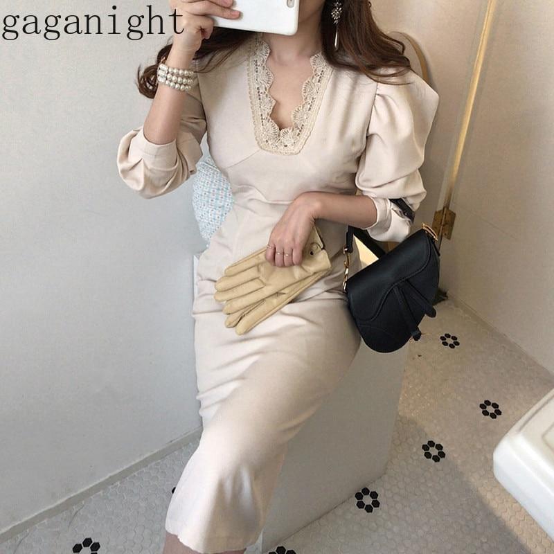 Женское облегающее платье макси Gaganight, элегантное кружевное платье с длинным рукавом и v-образным вырезом на весну и осень в Корейском стиле,...