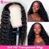 Deep Wave-Peluca de cabello humano con cierre de encaje transparente, 5x5 HD, prearrancada, brasileña, pelo AliPearl