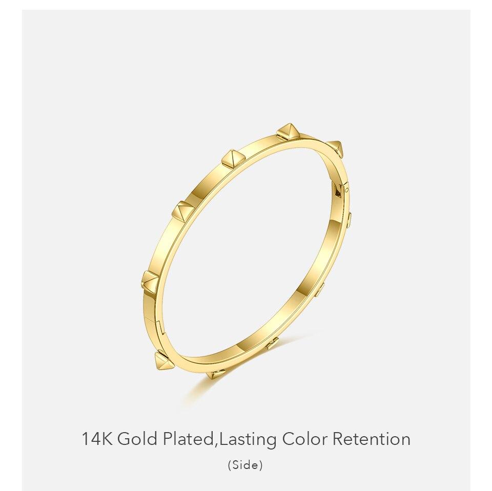 Enfashion pyramid spikes pulseira cor do ouro