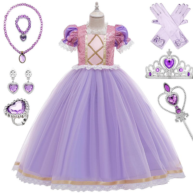 Girl Cosplay Princess Dress Up Kids Christmas Halloween Tulle Fancy Costume For Children Girls Birthday Clothes Set