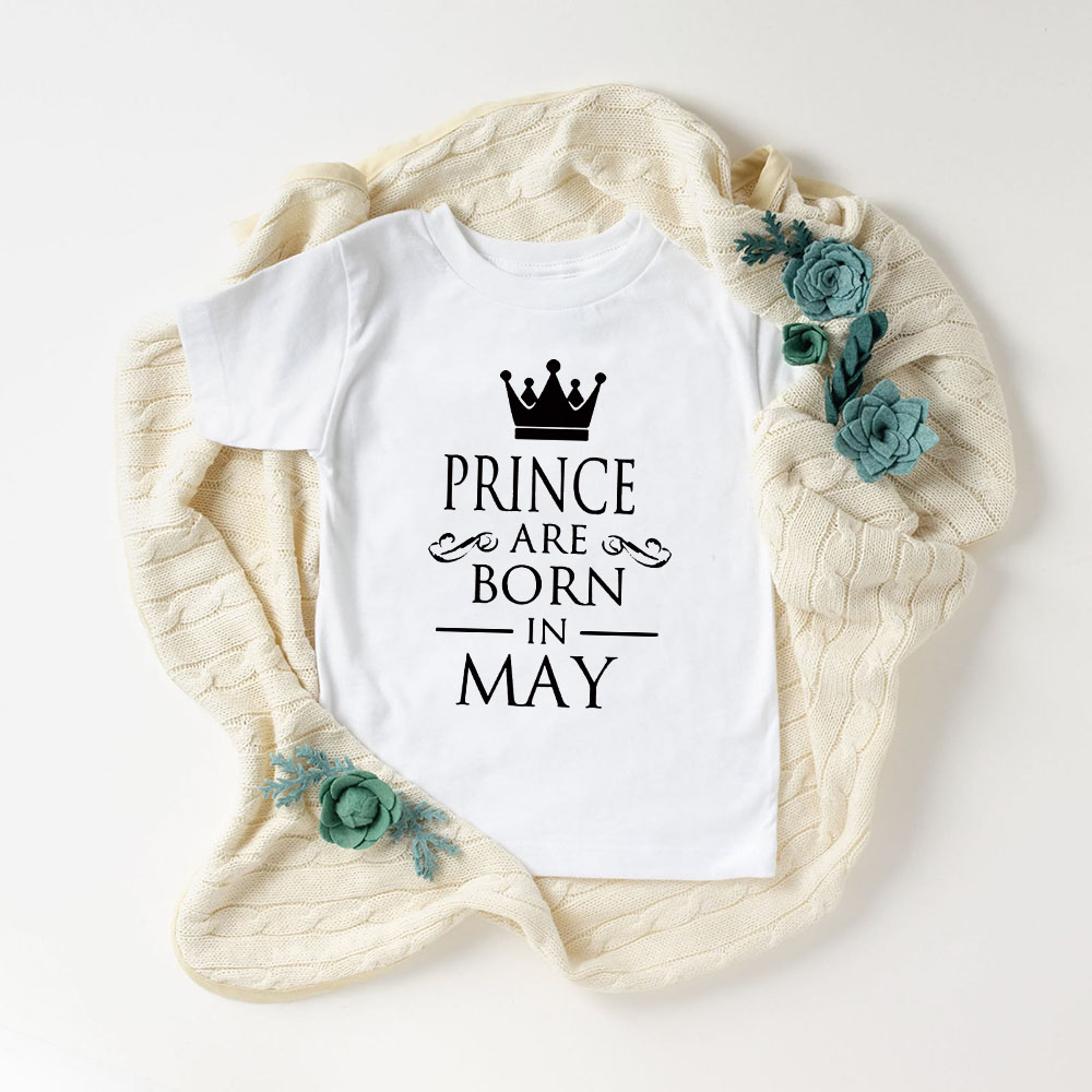 Baby Boys Birthday Prince/princess Are Born In JAL-DEC Print T Shirt Kids Funny Clothes Children Short Sleeve T-shirt Party Wear