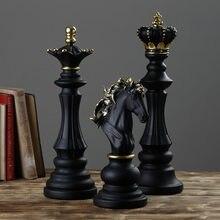 Xadrez de luxo conjunto decoração para casa resina pêndulo ornamentos peças de xadrez jogos de tabuleiro da família internacionais xadrez figurinhas chessmen