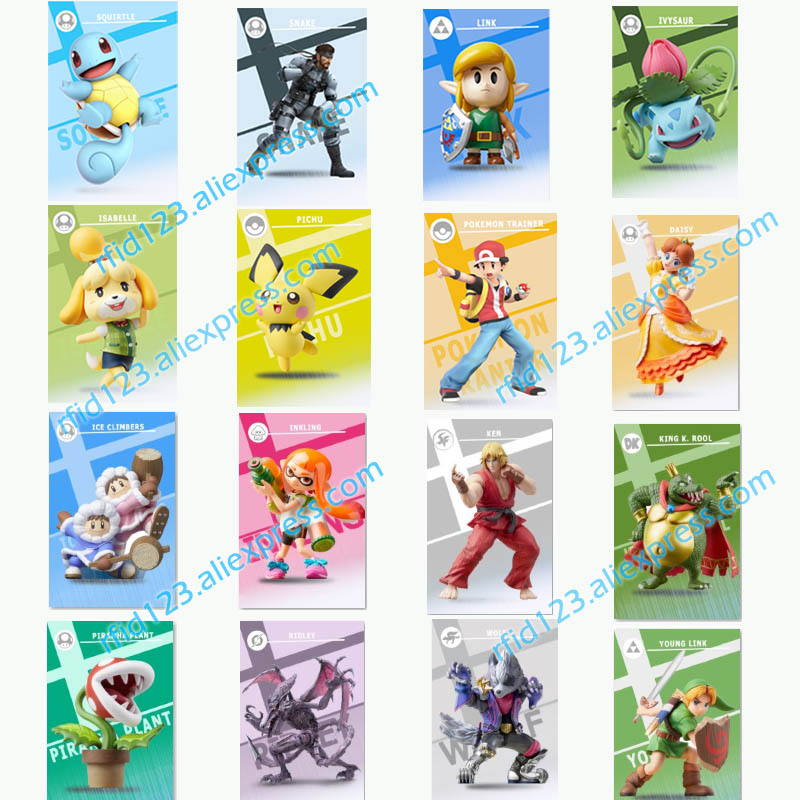New Amiibo Card Link Snake Ivysaur Squirtle For Super Smash Bro. Series