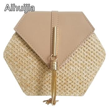 Hexagon Mulit Style Straw+leather Handbag Women 1