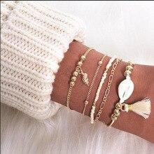 New 5 Pcs/Set Vintage Shell Conch Tassel Bracelet For Women Fashion Gold Ocean Jewelry Gift