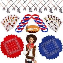 48pcs Set Children Cowboy Birthday Favors Style Kids Party With Bandannas Sticker/Pendant/Bracelet