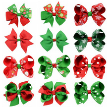 Christmas headdress 6 pcs baby girl ribbon bow hairpin teen multi style hair accessories child