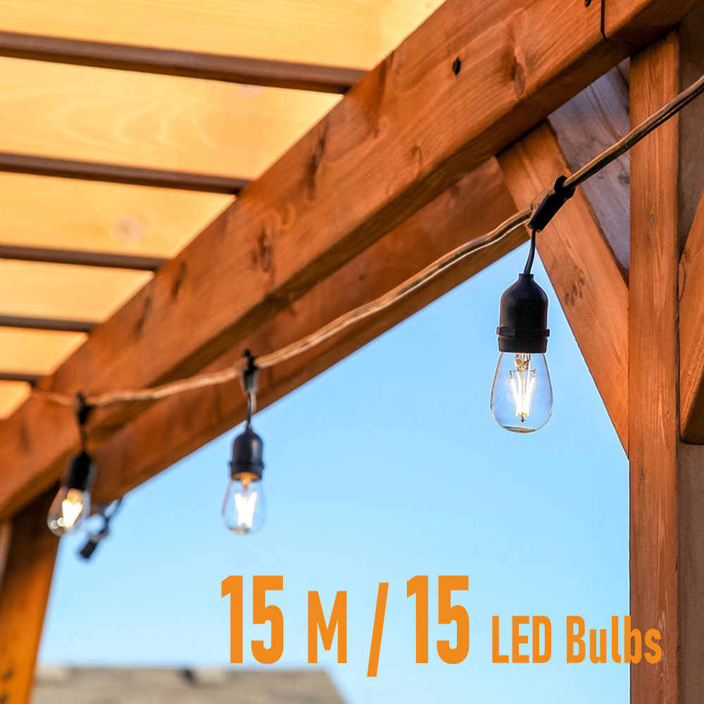 15M LED Bulbs Outdoor String Lights Waterproof IP65  Warm White Connectable Wedding Festoon Christmas Lights Party Garden Lights