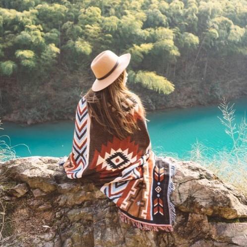 Pretty Geometric Blanket Outdoor Picnic Mats Ethnic Style Vintage Blanket Indian Geometric Totem Blanket