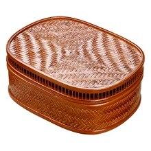 Caja de almacenamiento para juego de té hecha a mano, bambú, marrón claro, negro, chino, cesta de almacenamiento de gran capacidad sencilla para aperitivos y dulces, artículos para el hogar