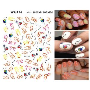 Image 5 - 1 Pcs Abstract Line Pattern Eye Design 3D Nail Sticker Nail Slider Art DIY Decorations Sticker for Manicure DIY Adhesive Tips