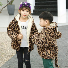 Wool Coat for Girls Boys Unisex Baby Clothes Winter Leopard Print Parkas Warm Hooded Outerwear Jackets Infant Childrens 2-9Y