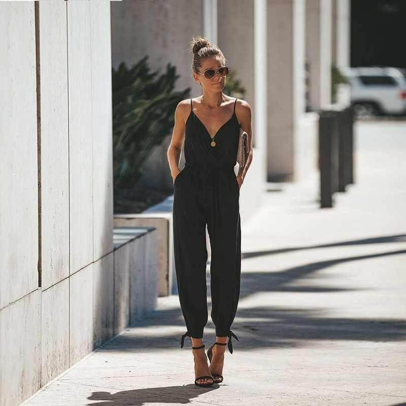 Tute senza maniche casual con scollo a v da donna 2019 Summer Ladies Boho Floral body pantaloni larghi larghi a gamba larga pantaloni plus size