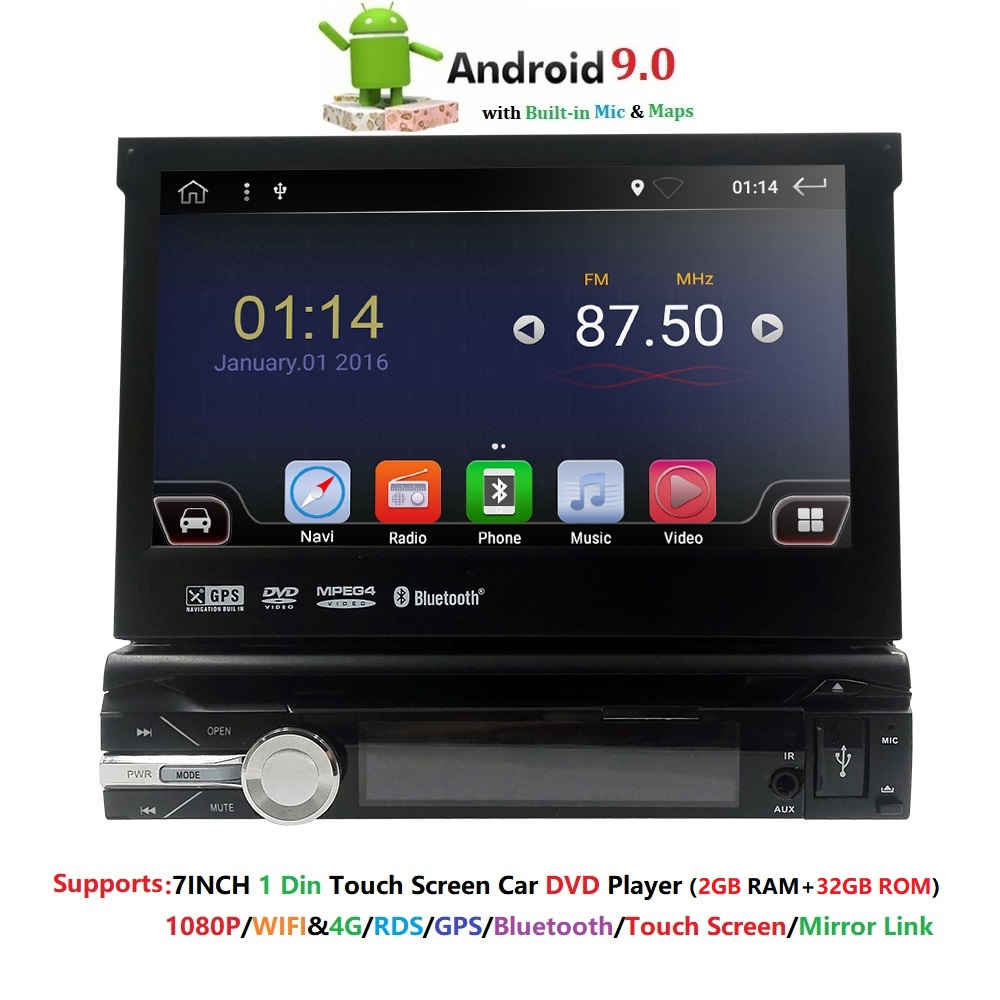 Single 1 Din 7'' quad core Universal Android 9,0 2GB RAM Auto Radio Stereo GPS Navigation WiFi 1024*600 Touchscreen 1din Auto PC
