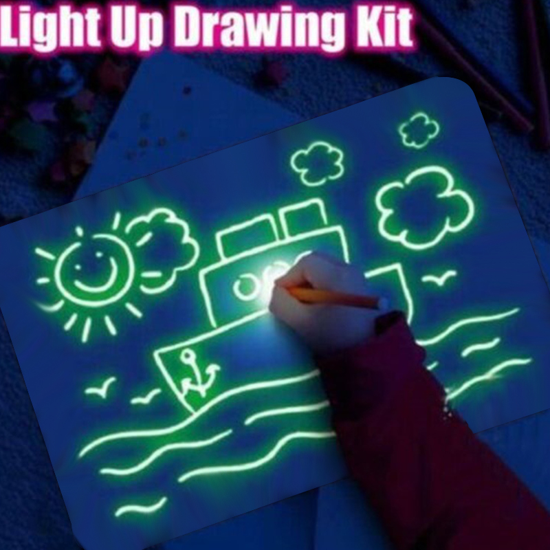 HOT A3 A4 A5 Magic Of Luminous Drawing Board Exercise Unlimited Use 3D LED With Light-Fun Fluorescent Pen Gift For Child Toys