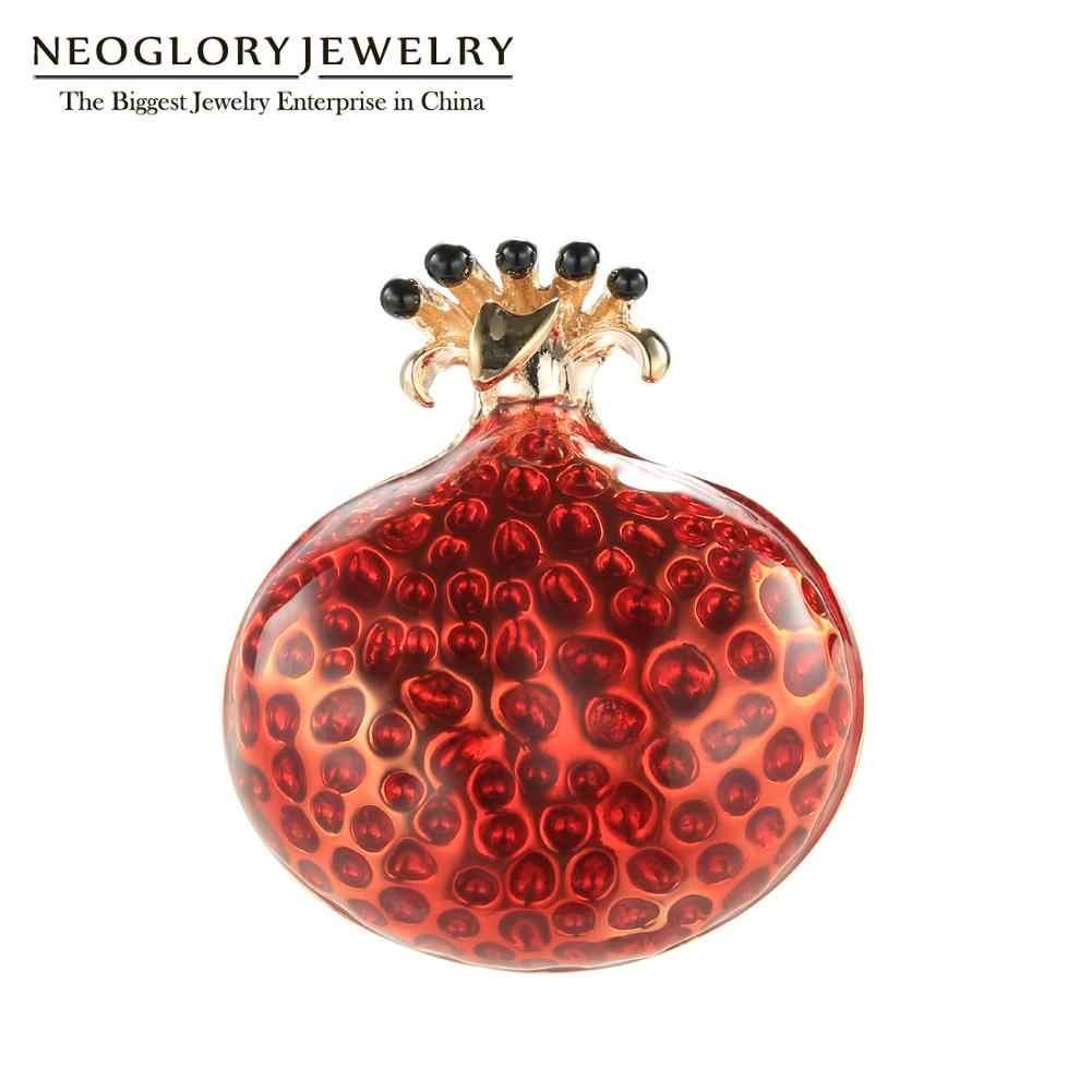 Neoglory vermelho vívido romã pinos de frutas de alta qualidade esmalte broches para mulheres 2020 moda jóias presentes festa