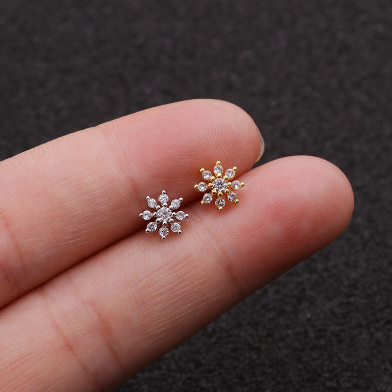 1Pc Stainless Steel Flower Piercing Cz Ear Studs Helix Piercing Rose Gold Cartilage Earring Tragus Conch Jewelry