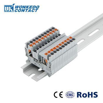 Zaciski na szynę din PT-2 5 Push-In wiosna bezśrubowy 10 sztuk elektryczne blok zacisków złącze PT2 5 drut dyrygent tanie i dobre opinie WONKEDQ 1-10 24-12AWG Electrical Wiring Distribution Cabinet panel Push in 0 2-4mm2 0 2-2 5mm2 800V Din Rail JST wire comductor
