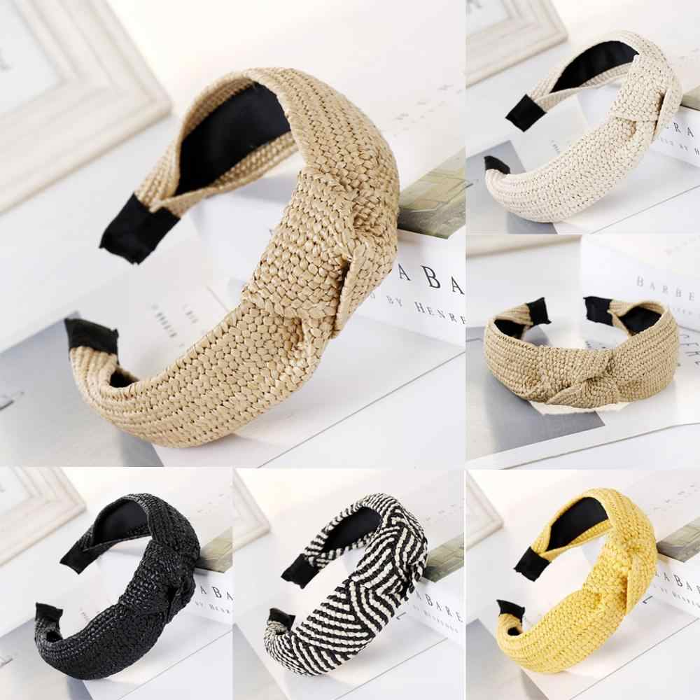 Straw Women  Hair Accessories Ladies bow-knot hair hoop Hairband Hair Head Hoop Sweet Girls Wide side 2020 New Fashion Headband
