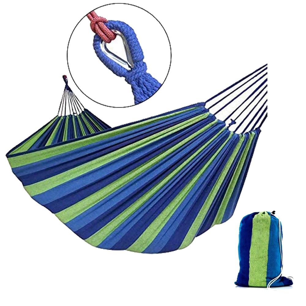 HooRu Single Double Hammock Hiking Camping Canvas Portable Hammock With Outdoor Backpacking Sack Garden Furniture Hanging Bed