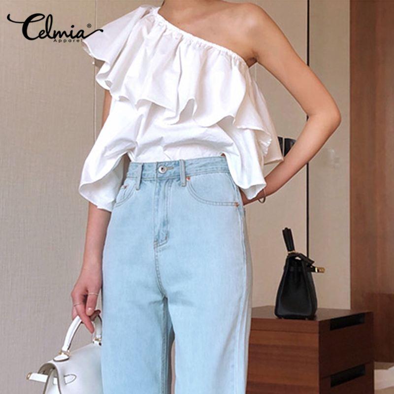 Elegant OL Shirts Women Fashion Ruffles Blouses Celmia Summer 2020 Sexy One Shoulder Sleeveless Casual Party Tops Feminians 5XL