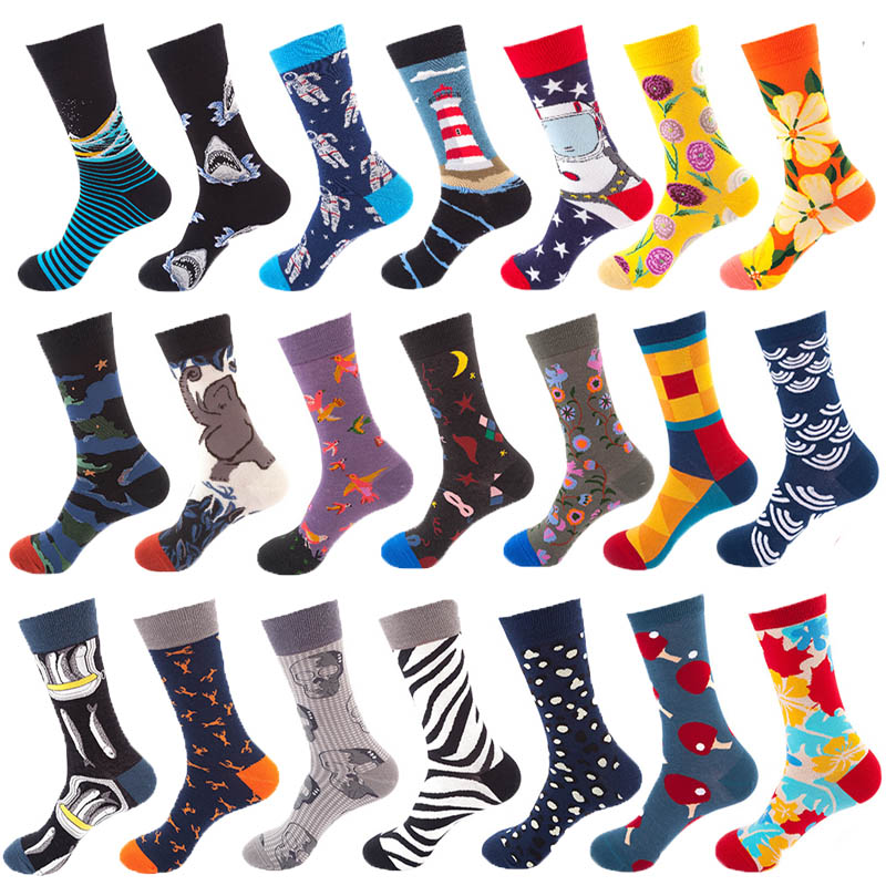 Men's socks summer sweat-proof breathable deodorant sports men's cotton socks men's casual fashion happy socks retro men's socks