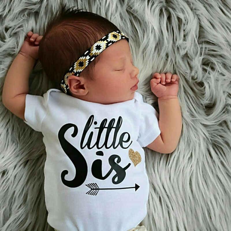 Mono de hermana y yo de verano para bebés y niñas, conjuntos a juego, ropa de algodón, camiseta de Hermana Grande, Mono de hermana pequeña
