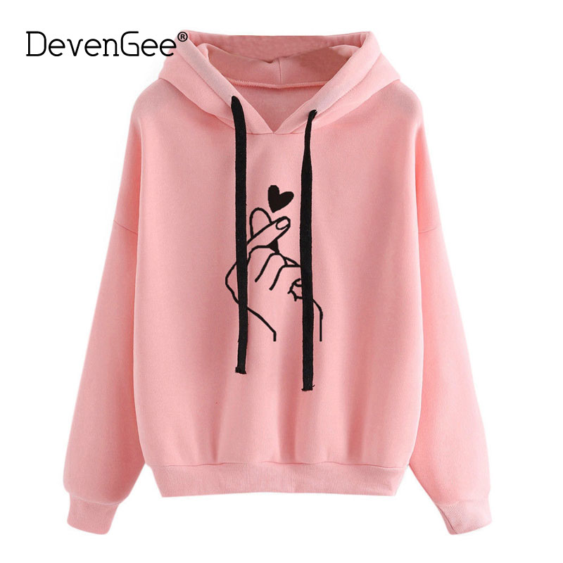 DevenGee Harajuku Hoody Sweatshirt Ladies Oversize <font><b>K</b></font> <font><b>Pop</b></font> Tracksuit Pink Love Heart Finger Hood Hoodies For Women Girls 0287 image