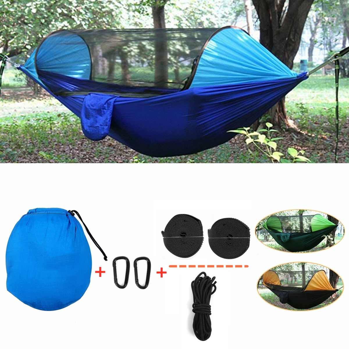 Outdoor Mosquito Net Parachute Hammock Portable Camping Hunting Hanging Sleeping Bed High Strength Sleeping Swing