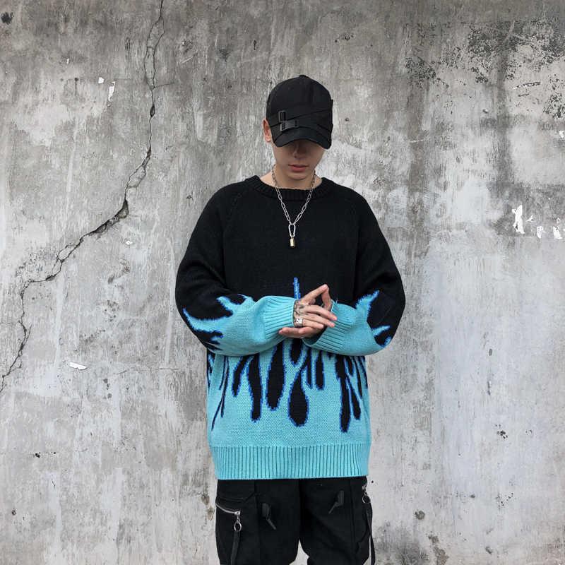 스웨터 남자 Streetwear 레트로 불꽃 패턴 힙합 가을 새로운 당겨 스 판 덱 스 o-넥 특대 커플 캐주얼 남자 스웨터