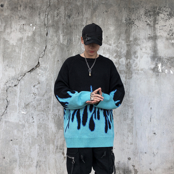Sweater Men Streetwear Retro Flame Pattern Hip Hop Autumn New Pull Over Spandex O-neck Oversize Couple Casual Men's Sweaters 4