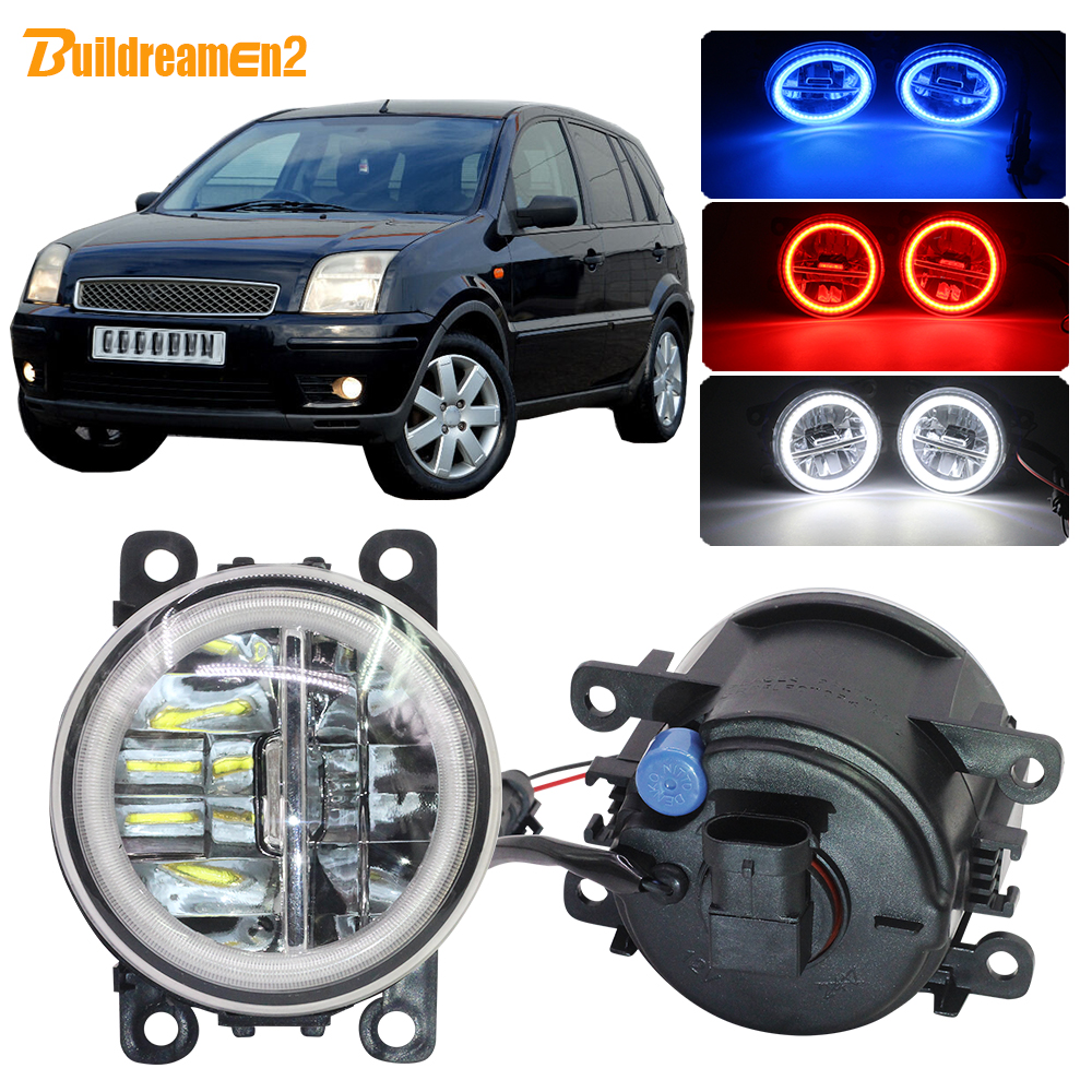 Buildreamen2 Car 4000LM Fog Light Lamp LED Angel Eye DRL Daytime Running Light H11 12V For Ford Fusion Estate JU 2002-2008