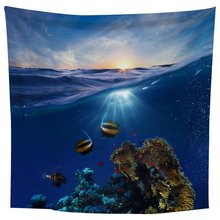 Large Beautiful Blue seabed Wall Tapestry Wall Hanging Blanket 1.5*1.3m Print Wall Art Decoration round brick print waterproof wall art tapestry