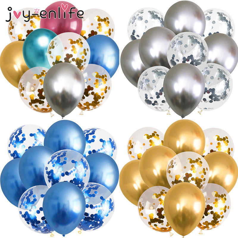 10pcs Metallic Colors Balloons Gold Confetti Balloon Birthday Party Decoration Kids Adult Air Ball Wedding Party Ballon Decor
