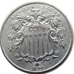 США 1871 щит пять цент, копия монеты