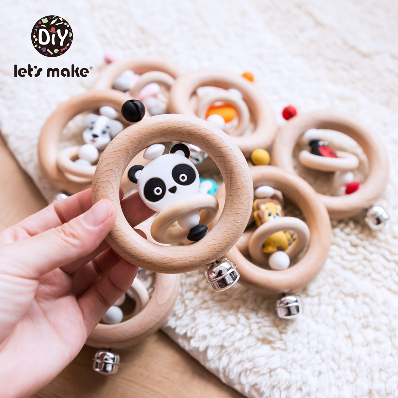 Baby Toys 1pc Silicone Beads Cartoon Rattle Teething Ring Of Beech Wood 0-12 Moths Children Christmas Gifts Stroller Let's Make