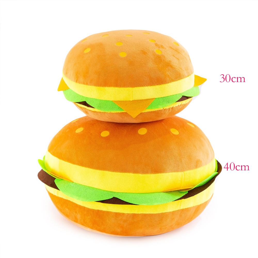Cartoon Mezzanine Simulation Hamburger Food Toy Pillow Soft Fill Cushion Children Plush Toy Gift Doll Child Gift 30/40cm WJ210