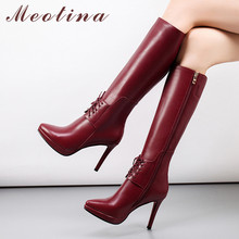 Meotina Autumn Knee High Boots Women Zipper Stiletto Heel Long Boots Lace Up Sexy Extreme High Heel Shoes Ladies Winter Size 39 цены онлайн