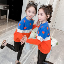 лучшая цена New Girls Sweater England Style Hit Color Patchwork Star Sweater For Girls Autumn Kids Clothes Children's Costume For Teenage