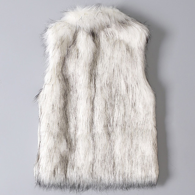 2019 New Fashion Faux Fur Coat Winter Women Waist Coat Women's Jacket Fur Vest Ladies Wool Vest Stand Collar Faux Coat#1028