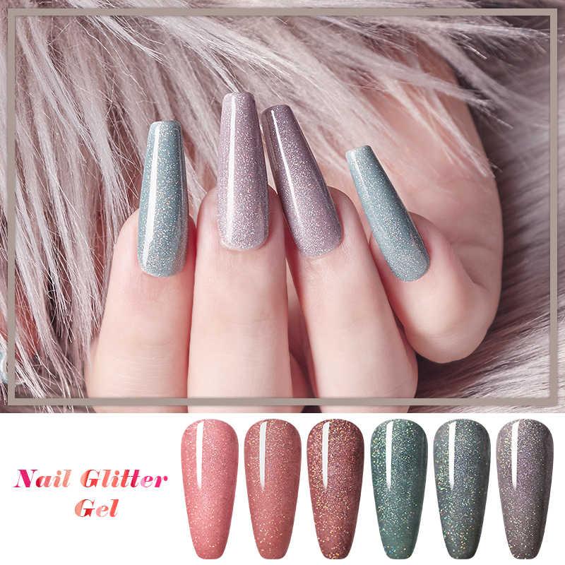 Vier Lelie Uv Gel Nagellak Herfst Winter Kleur Glitter Pailletten Soak Off Nail Art Lak Semi Permanente Manicure Vernissen