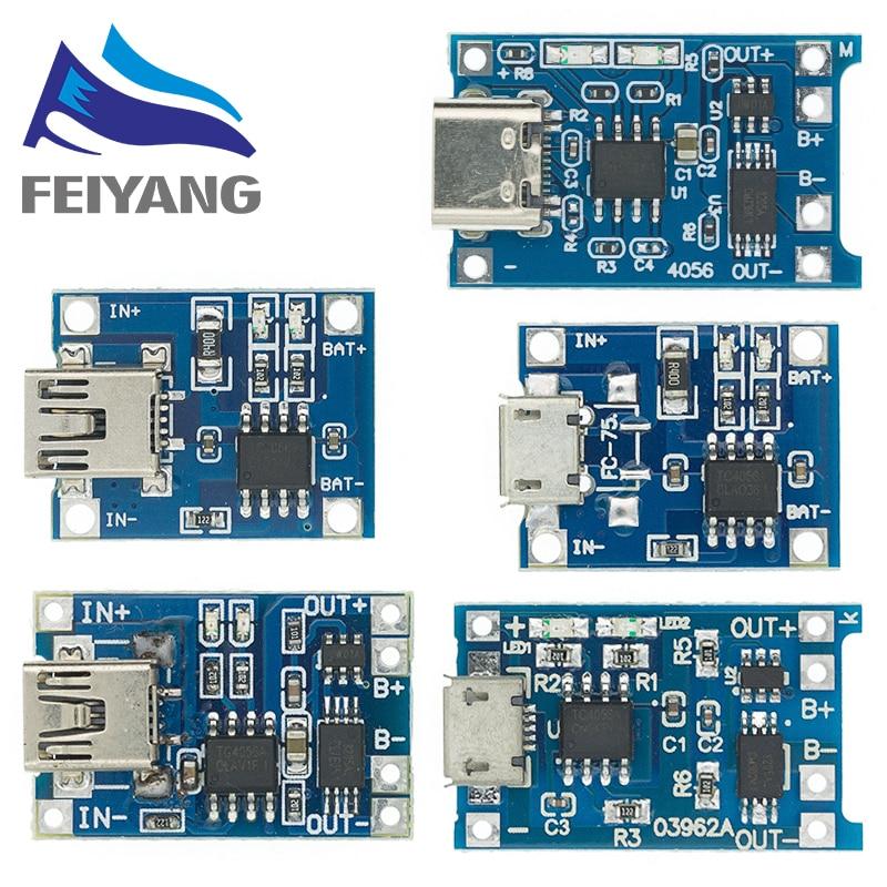 Type-c / Micro USB 5V 1A 18650 TP4056 модуль зарядного устройства литиевой батареи, зарядная плата с защитой, двойные функции, li-ion