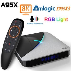 Image 1 - A95X F3 Air TV Box Android 9.0 Amlogic S905X3 4G 64G 2.4G/5G WIFI USB 3.0 8K Tvbox YouTube RGB Light Android TV Box A95XF3 Air