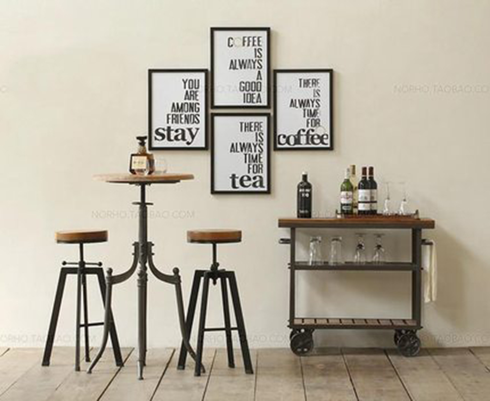 French American Retro Style Wrought Iron Coffee Table And Chair Can Be Raised And Lowered Coffee Table Retro Style Metal Kitchen