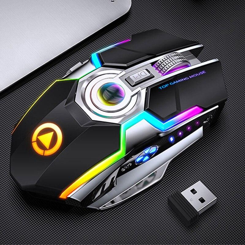 Игровая мышь перезаряжаемая беспроводная мышь Бесшумная 1600 DPI Эргономичный RGB светодиодный с подсветкой 2,4G USB Проводная оптическая для ноут...
