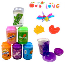 6 Colors Crystal Mud Cute Soda Cement Putty Clay Jar Trans Parent Jelly Soft Magic Mud Child Slime Bubble Toy Children's Gift недорого