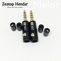 100PCS High Quality 3.5 mm Male 4 Pole Plug Stereo Audio Jack Connector for 2 4 6 mm Cable DIY Repair Headphone Adapter