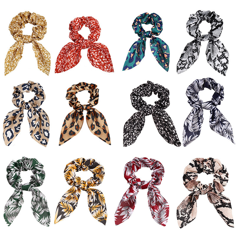 Laço de leopardo scrunchies para mulher meninas impresso laços de cabelo floral coelho elástico faixas de cabelo titular rabo de cavalo acessórios para o cabelo Joias para o cabelo    -