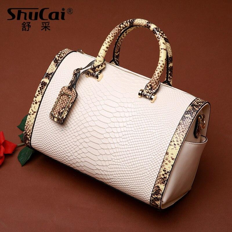 Women Tote Handbag 100% Genuine Leather Boston Bag Serpentine Pillow Bag Fashion Lady Shoulder Bag Classic Black Crossbody Bags